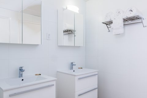 Bathroom Double Sink with Towels