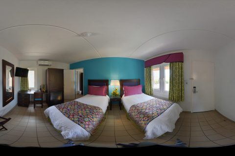 Double Bed Room Panorama Shot