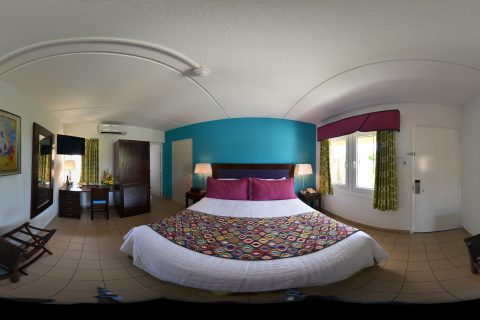 Queen Bed Room Panorama Shot